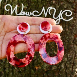 New Chunky Oval Layered Acrylic Dangle Earrings